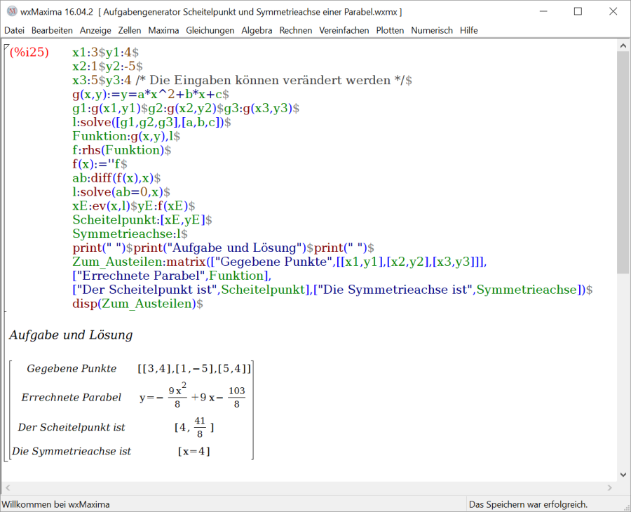 Aufgabengenerator Scheitelpunkt und Symmetrieachse einer Parabel