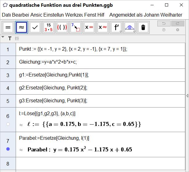 quadratische Funktion aus drei Punkten