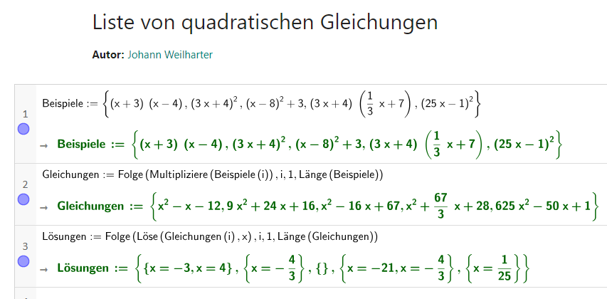 Liste von quadratischen Gleichungen